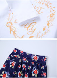 3PCS Baby Girl Print Navy Flowers Long Sleeve Romper Pants Bodysuit Headband Clothes Outfits Set