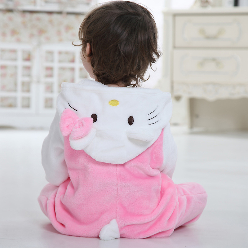 Baby Pink Hello Kitty Onesie Kigurumi Pajamas Kids Animal Costumes for Unisex Baby