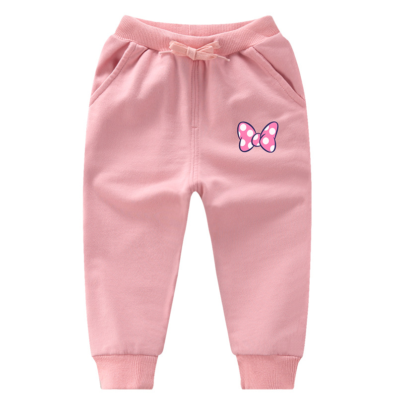 Simple Toddler Girl Bowknot Jogger Cotton Pants