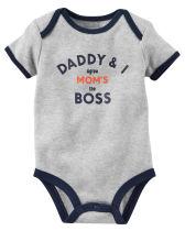 Baby Boy Print Grey Slogan Boss Short Sleeve Cotton Bodysuit