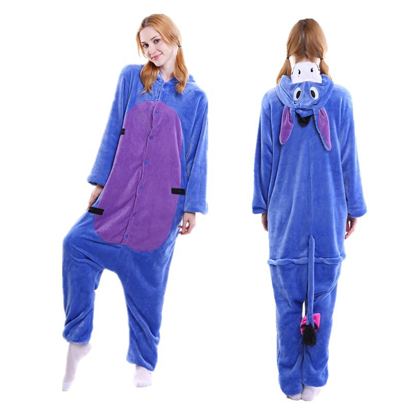 Unisex Adult Pajamas Blue Donkey Animal Cosplay Costume Pajamas