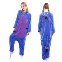 Unisex Adult Pajamas Blue Donkey Animal Cosplay Costume Pajamas