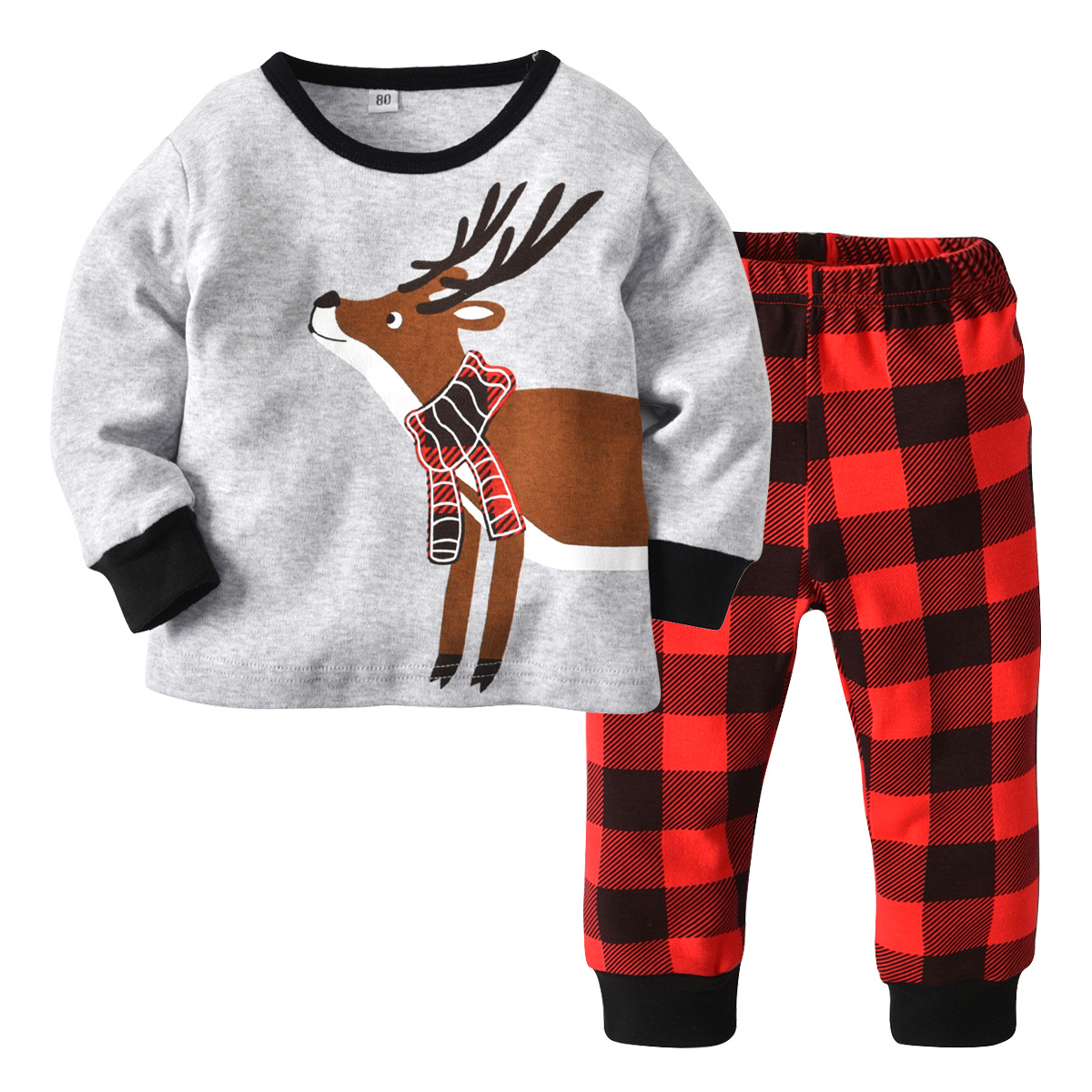 Toddler 2 Pieces Print Deer Long Sleeve T-shirt and Plaid Pant Clothes Set