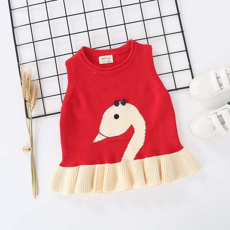 Toddler Girl Cable Knit Pullover Sweater Swan Vest