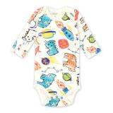 Baby Boy Print Scrawl Space Long Sleeve Cotton Bodysuit