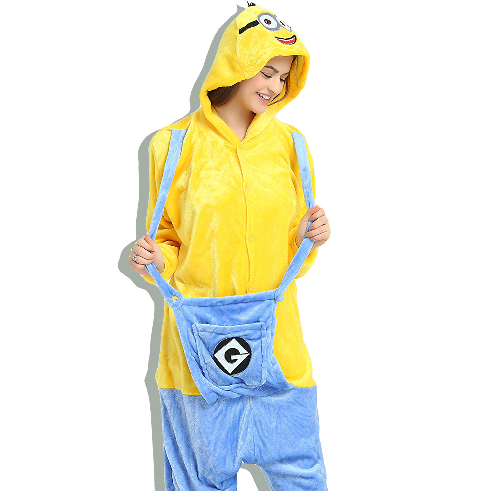 Unisex Adult Pajamas Yellow Minions Animal Cosplay Costume Pajamas