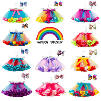 Toddler Girl 3 Colors Layered Tulle Tutu Skirt Add Free Bow Clip