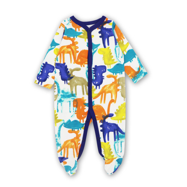 Baby Boy Print Color Dinosaurs Footed Pajamas Sleepwear Cotton Infant One-piece(0-1Year)