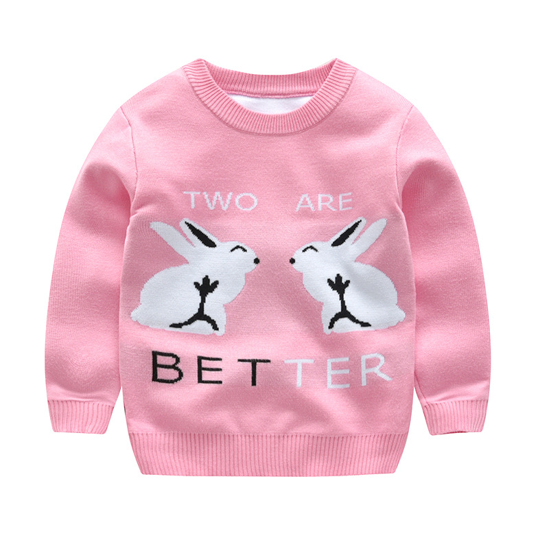 Toddler Girls Knit Pullover Upset to Keep Warm Rabbit Sweater