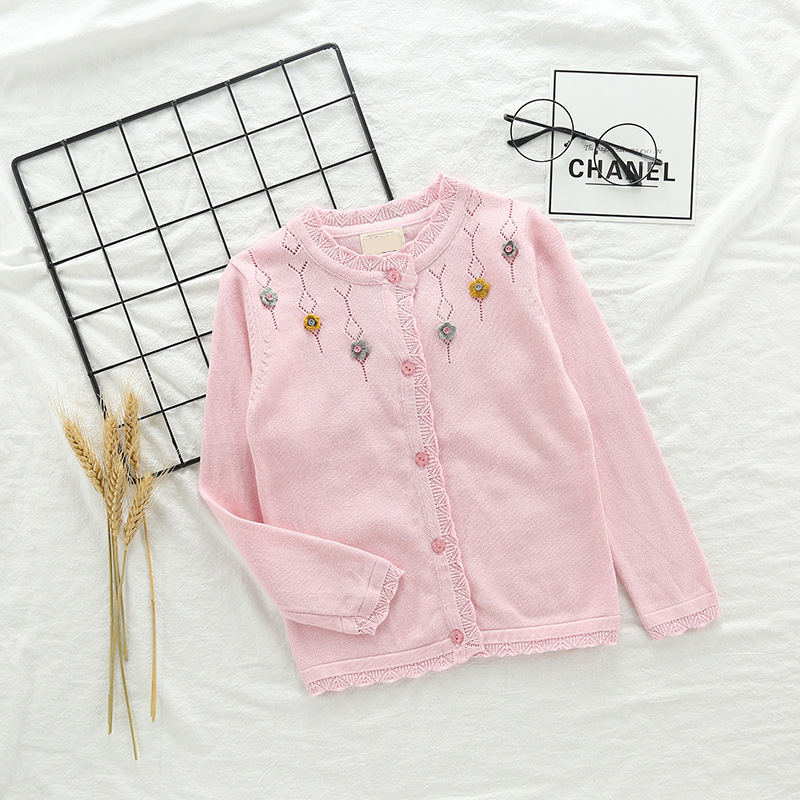 Toddler Girl Knit Cardigan Sweater Hollow Out Flowers Pattern