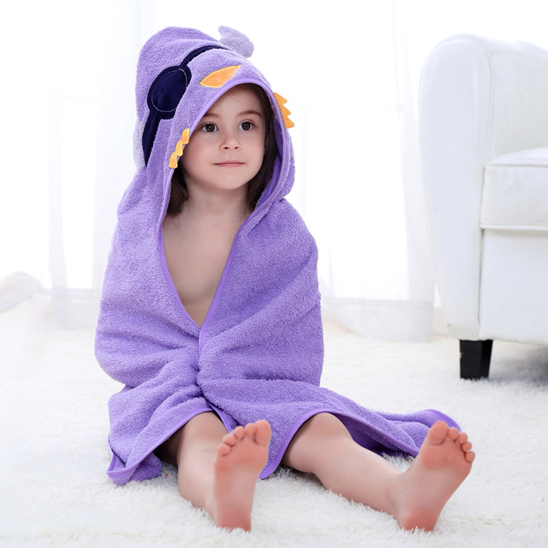 Baby Purple Bird Face Hooded Bathrobe Towel Bathrobe Cloak Size 28 *55