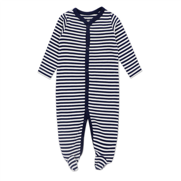 Baby Navy Stripes Footed Pajamas Sleepwear Cotton Infant One-piece(0-1Year)