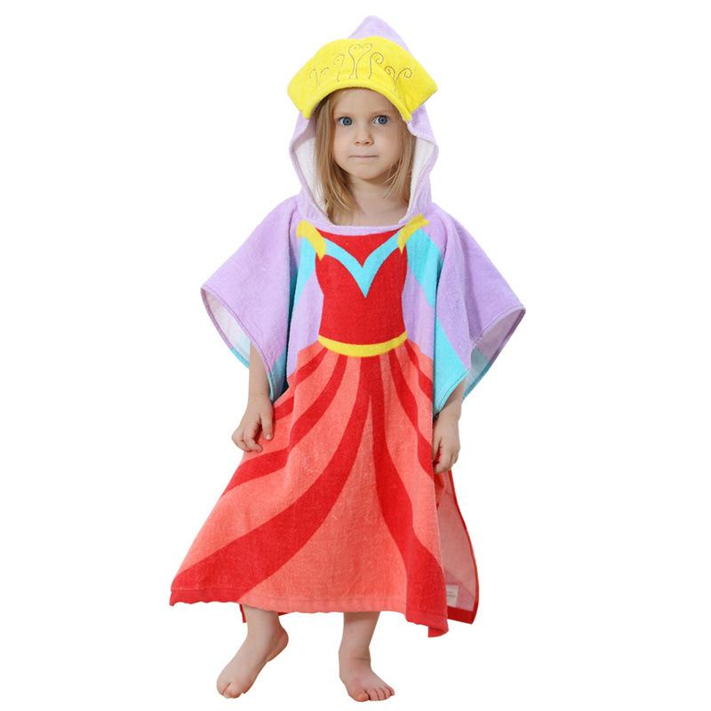 Baby Purple Princess Face Hooded Bathrobe Towel Bathrobe Cloak Size 24 *47