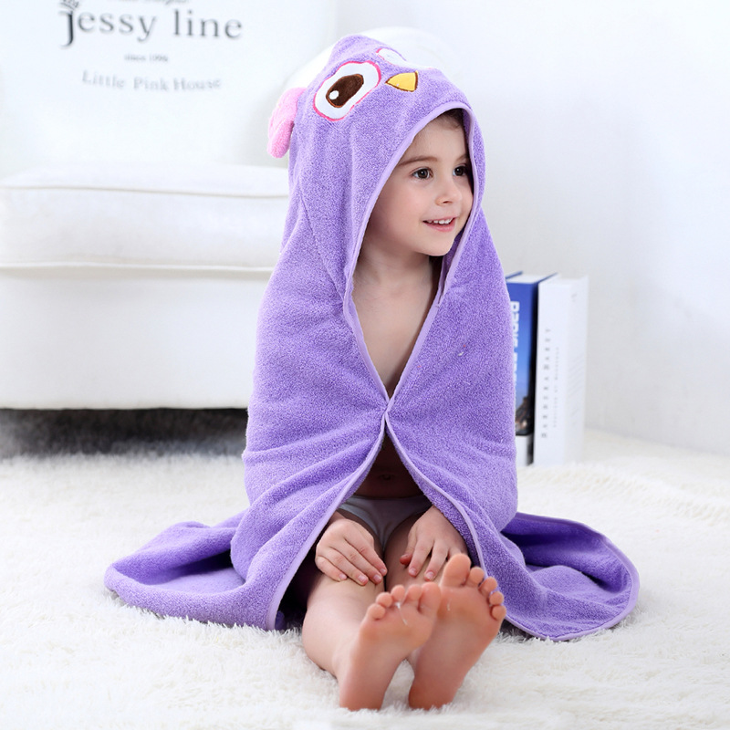 Baby Purple Owl Face Hooded Bathrobe Towel Bathrobe Cloak Size 28 *55