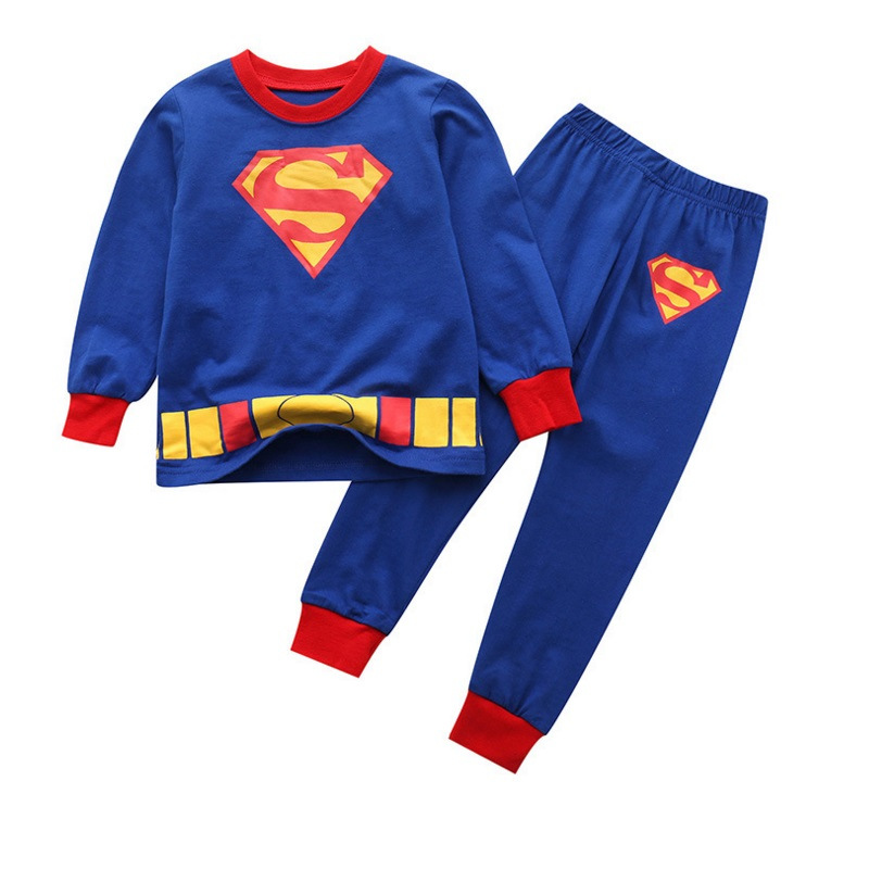 Toddler Boy 2 Pieces Pajamas Sleepwear Blue Superman Long Sleeve Shirt & Legging Sets