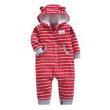 Baby Boy Hooded Zip-Up Stripes Polar Fleece Long Sleeve One piece