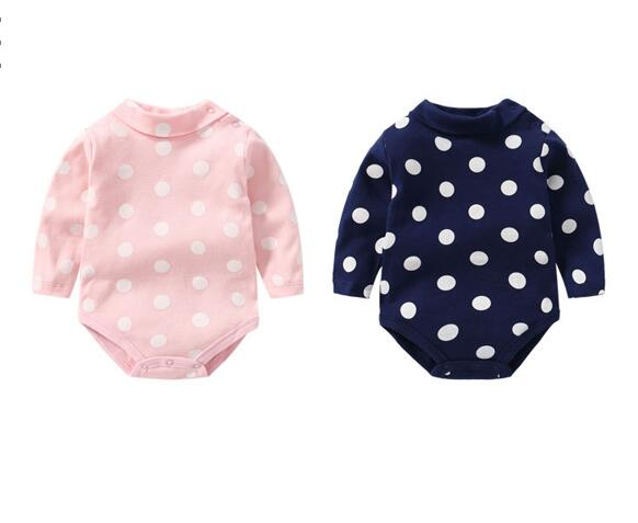 Baby Girl Dots High Collar Long Sleeve Cotton Bodysuit