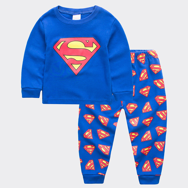 Toddler Boy 2 Pieces Pajamas Sleepwear Superman Long Sleeve Shirt & Legging Sets