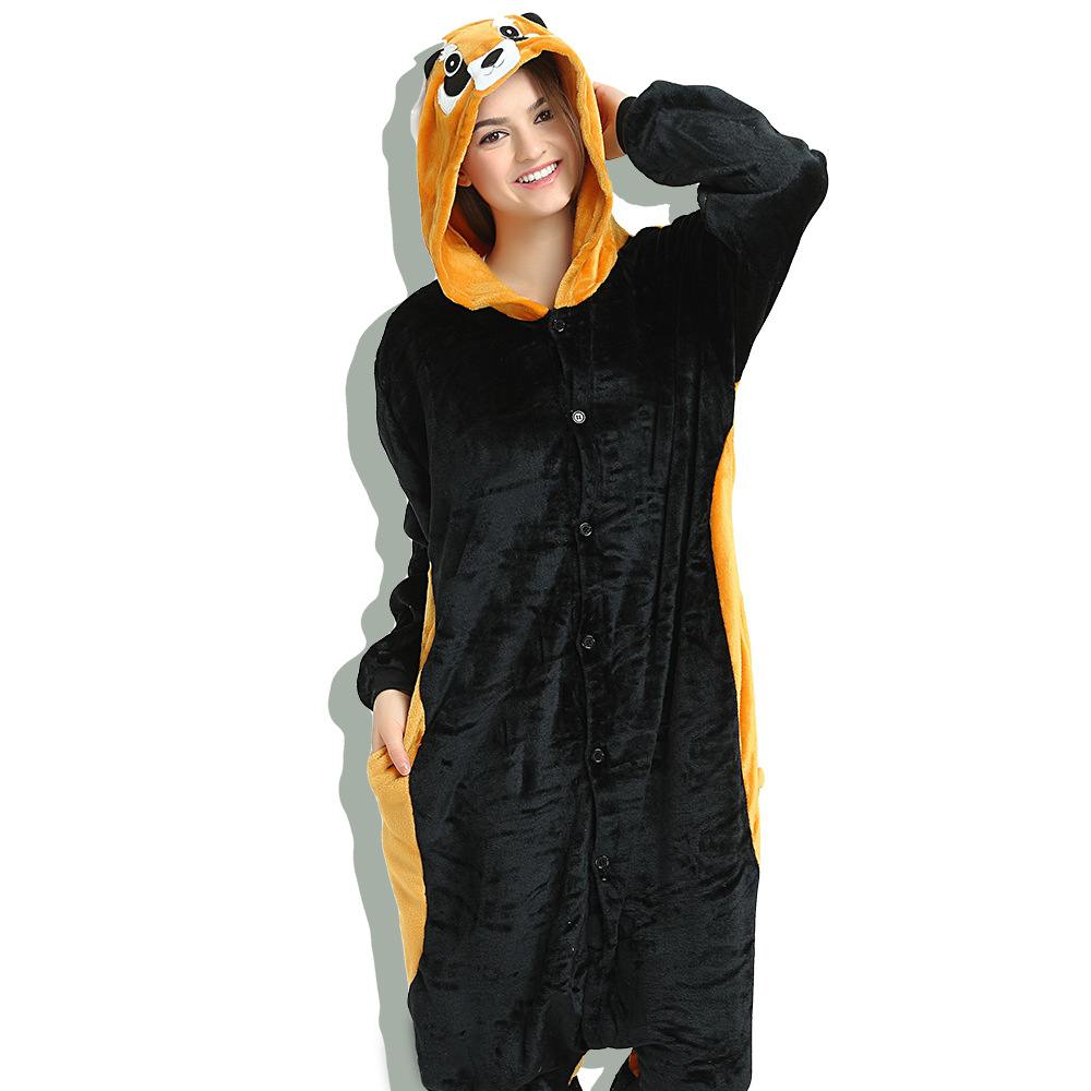 Unisex Adult Pajamas Black Raccoon Animal Cosplay Costume Pajamas