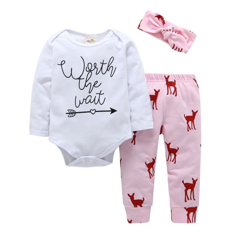 3PCS Baby Girl Red Deers Long Sleeve Romper Pants Bodysuit Headband Clothes Outfits Set