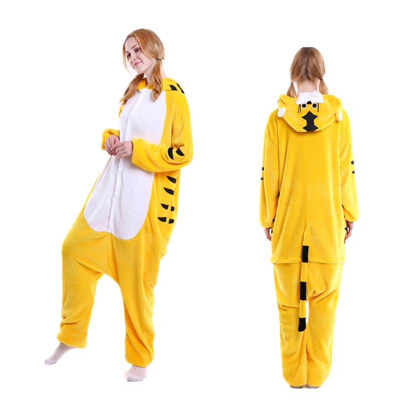 Unisex Adult Pajamas Yellow Tiger Animal Cosplay Costume Pajamas