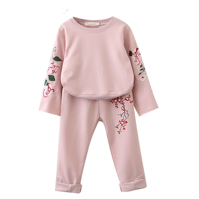 Toddler Girl 2 Pieces Print Embroidery Flowers Long Sleeve Sweatshirt and Pants Clothes Set Outfit
