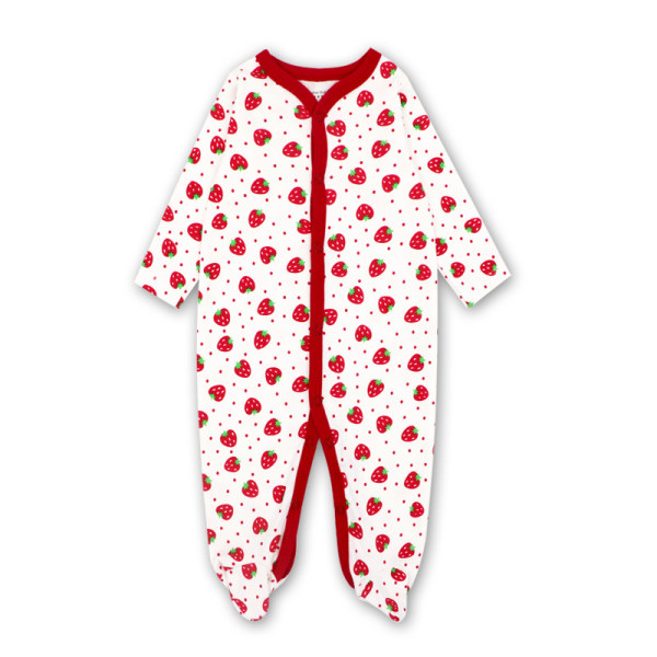 Baby Girl Red Strawberry Footed Pajamas Sleepwear Cotton Infant One-piece(0-1Year)