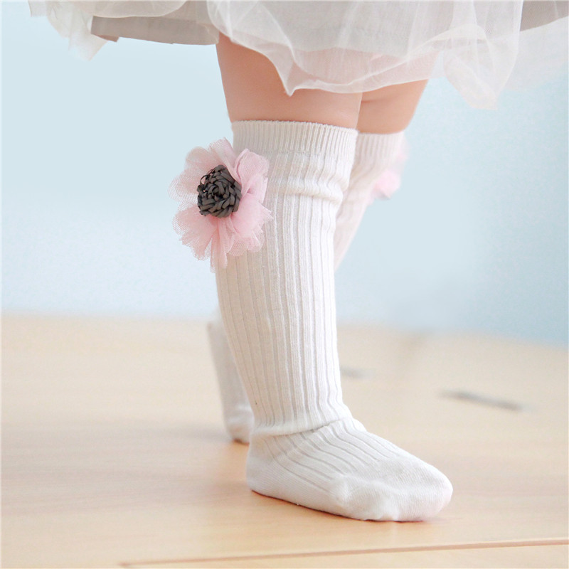 Baby Toddler Girls Knee-high White Flower Tube Stocking