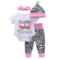 4PCS Baby Girl Print Wing Long Sleeve Romper Pants Bodysuit Hat Headband Clothes Outfits Set