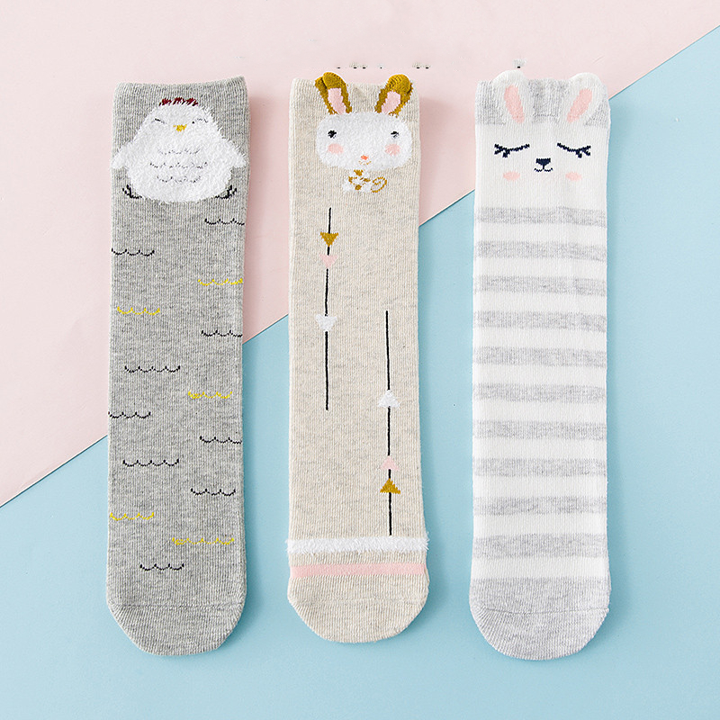 3 Pairs Baby Toddler Girls Knee-high Cartoon Animal Tube Stocking