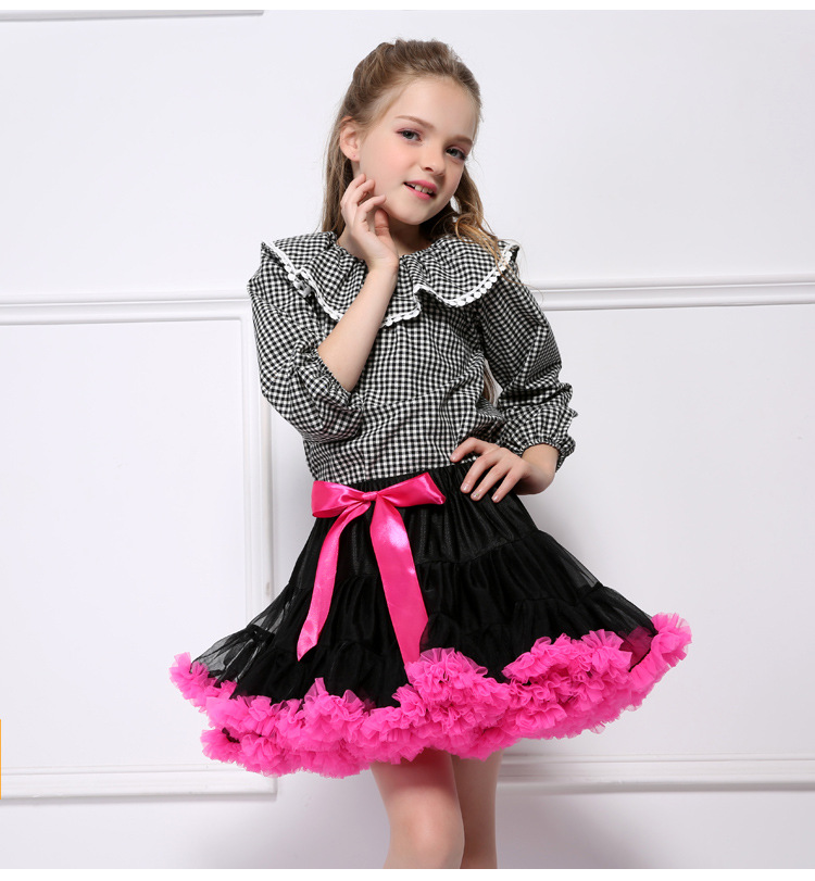 Toddler Girl Tutu Color Matching Skirt Princess Fluffy Soft Chiffon Ballet Birthday Party Pettiskirt