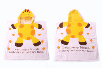 Baby Yellow Giraffe Face Hooded Bathrobe Towel Bathrobe Cloak