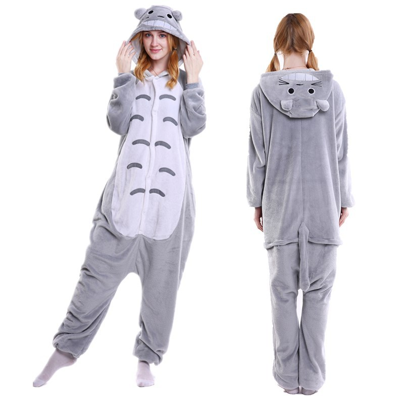 Unisex Adult Pajamas Grey Totoro Animal Cosplay Costume Pajamas