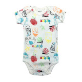 Baby Boy Print Snail Short Sleeve Cotton Bodysuit