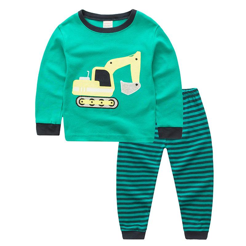 Toddler Boy Mechanical Digger Truck 2 Pieces Pajamas Sleepwear Long Sleeve Shirt & Legging Sets
