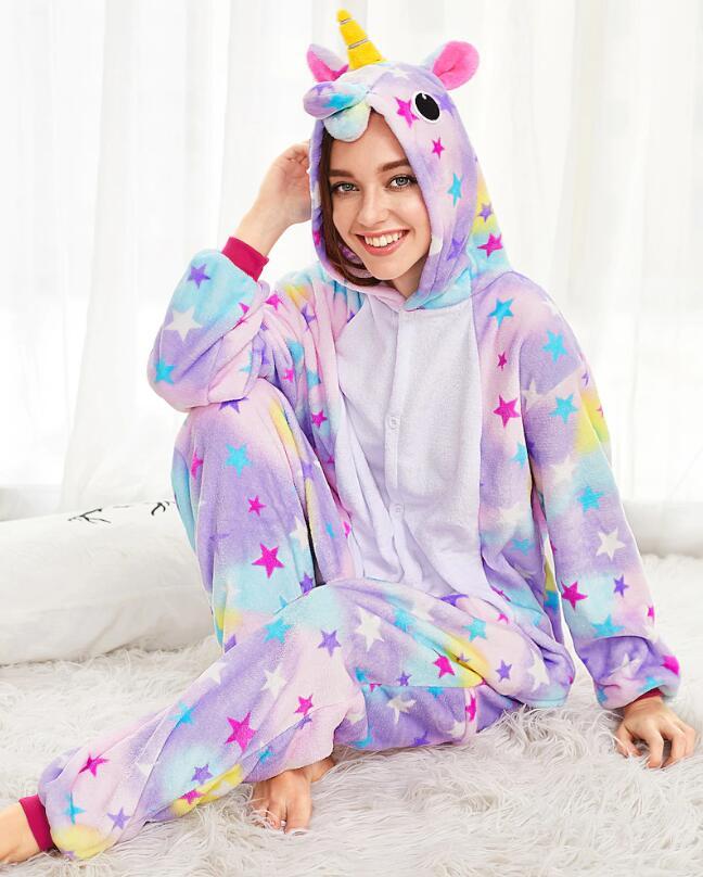 Unisex Adult Pajamas Colorful Stars Unicorn Animal Cosplay Costume Pajamas
