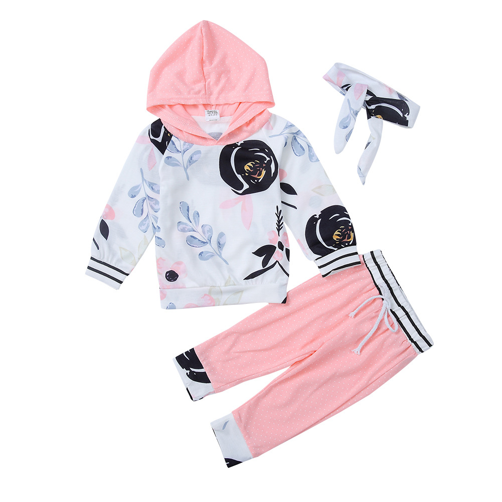 3PCS Baby Girl Pink Flowers Hooded Long Sleeve Sweatshirt and Pants With Headband Clothes Outfits Set