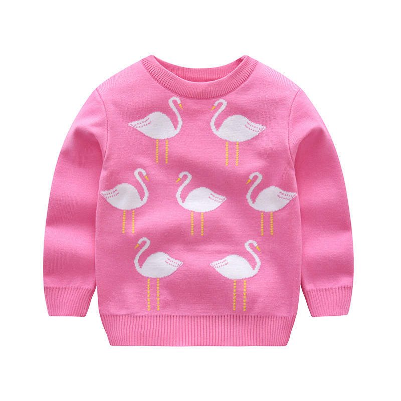 Toddler Girls Knit Pullover Upset to Keep Warm Fashion Flamingo Sweater