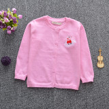 Toddler Girl Knit Cardigan Pure Color Sweater Peppa Pig Pattern