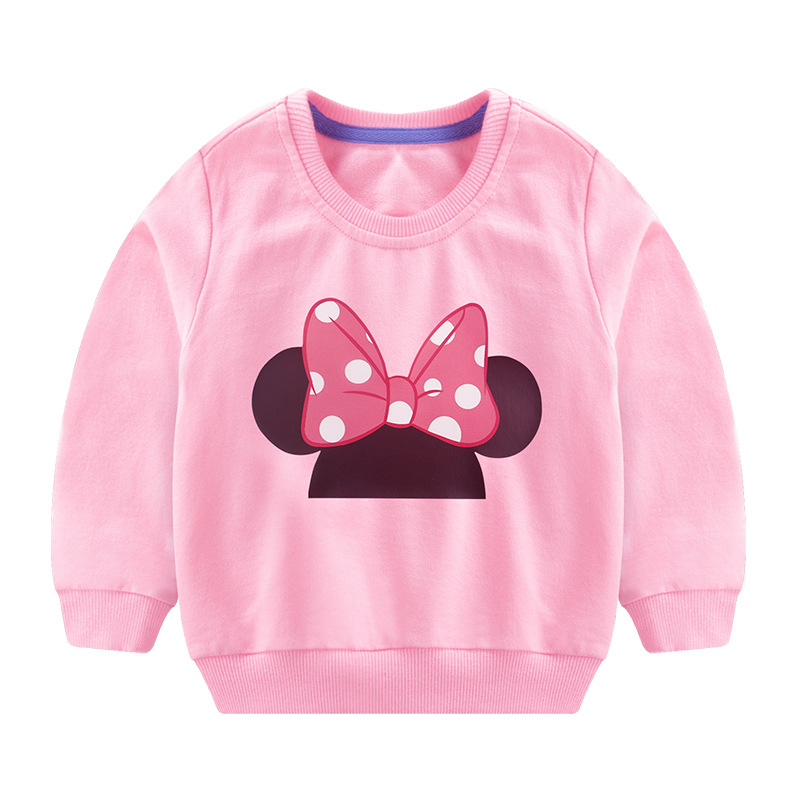 Toddler Girl Print Pink Bowknot Long Sleeve Sweatshirt