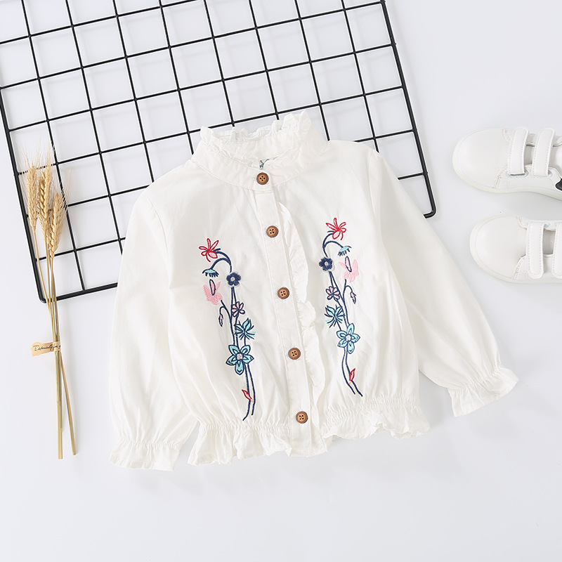 Toddler Girl Embroidery Flowers Ruffled Collar Long Sleeve Blouse