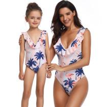 Mommy and Me Matching Swimwear Print Flamingos Swimsuit