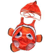 Baby 3D Cute Clownfish Swimsuit With Swim Cap 0-3 Years