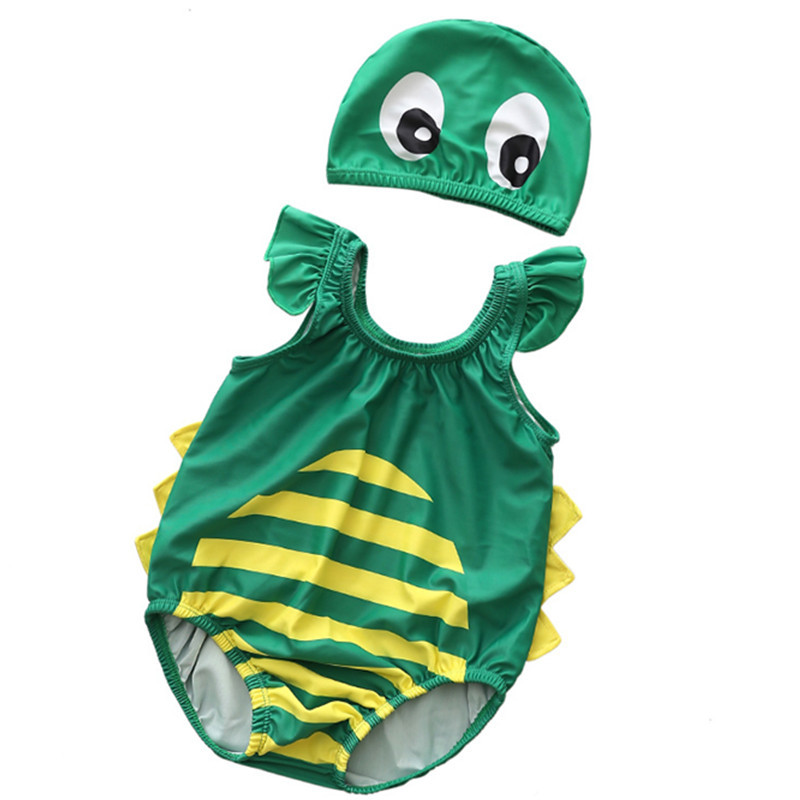 Baby 3D Cute Dinosaur Swimsuit With Swim Cap 0-3 Years