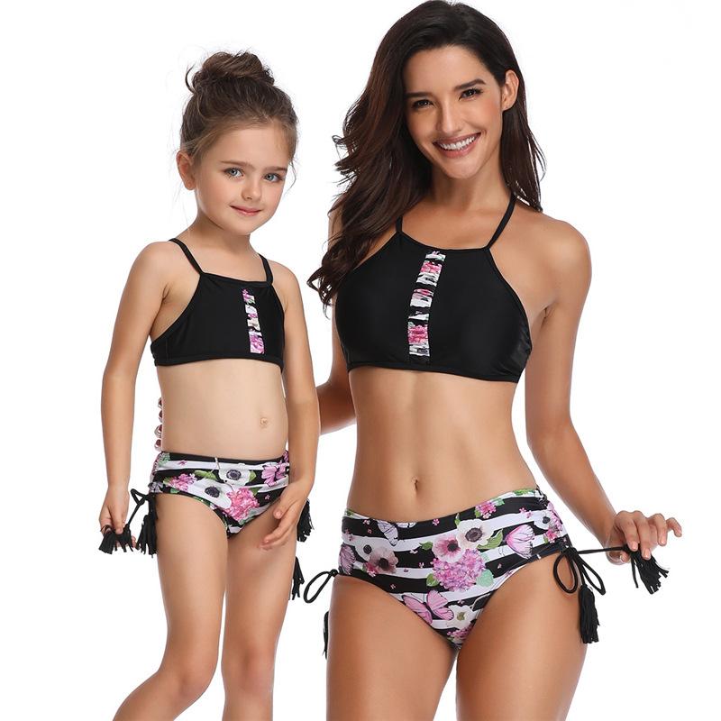 Mommy and Me Matching Swimwear Prints Flowers Tassels Bikini Swimsuit