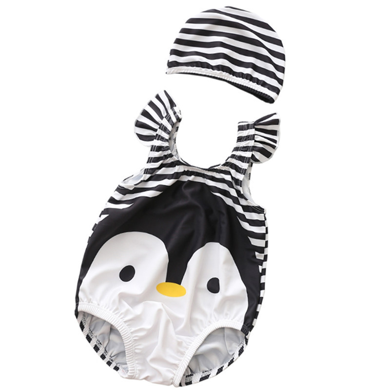Baby 3D Cute Penguin Swimsuit With Swim Cap 0-3 Years