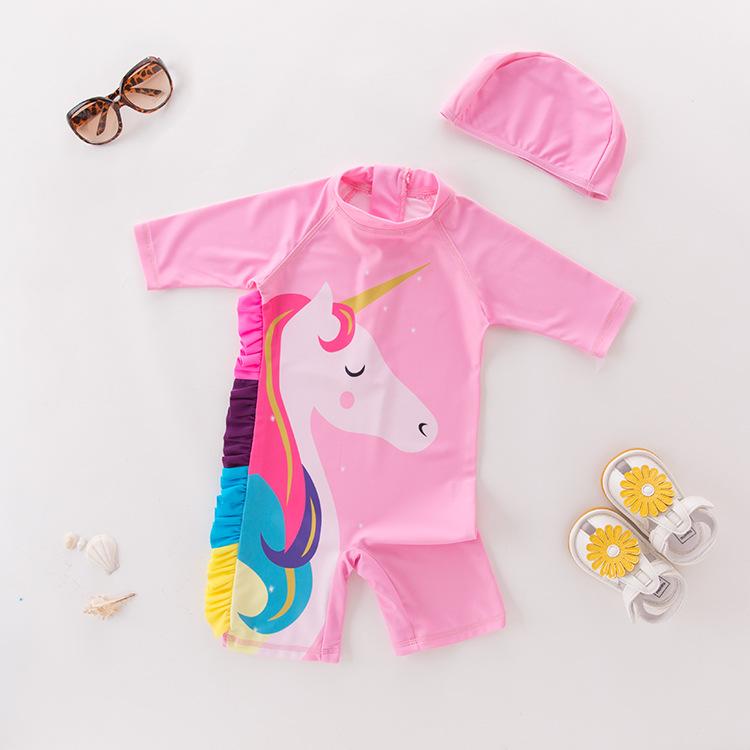 Toddler Girl Print Unicorn Swimsuit With Swim Cap