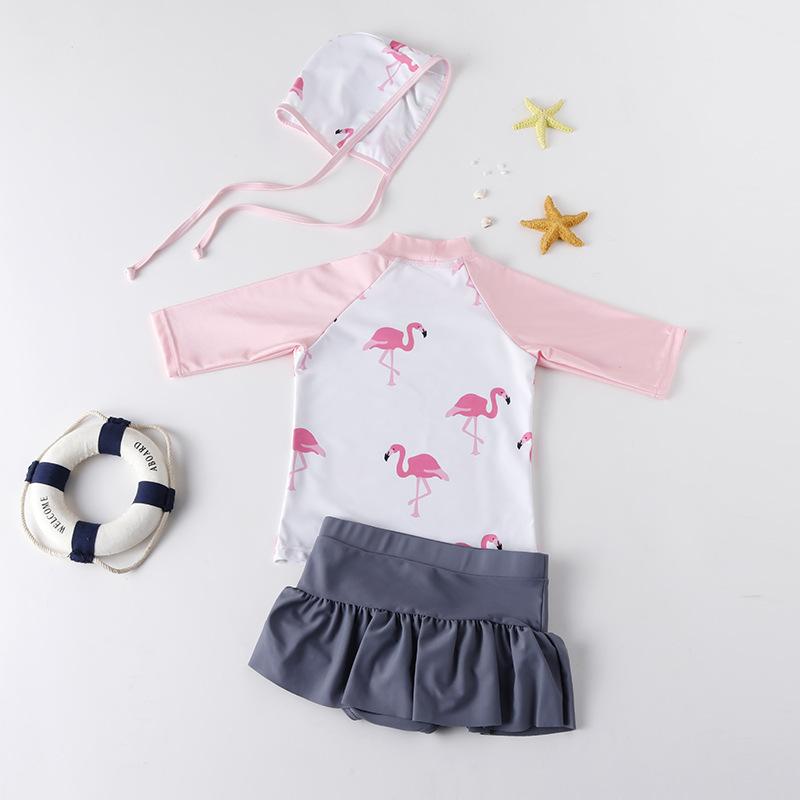Toddler Girls' Print Pink Flamingos Two Pieces Beach Swimwear with Swim Cap