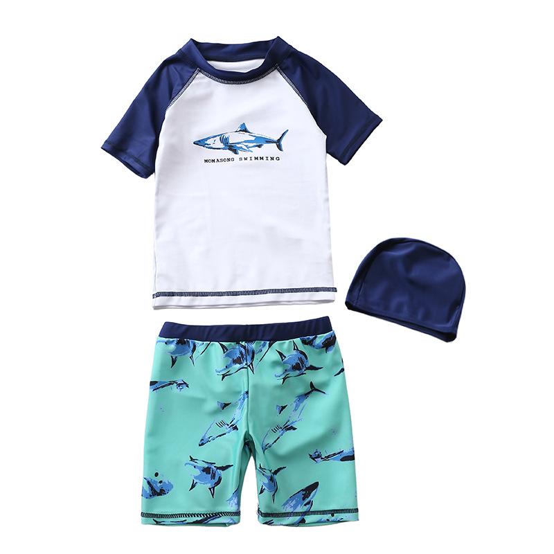 Kid Boys Print Sharks Swimwear Sets Short Sleeve Top and Shorts With Swim Cap