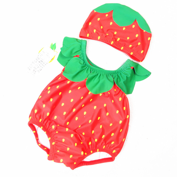 Baby 3D Cute Strawberry Swimsuit With Swim Cap 0-3 Years